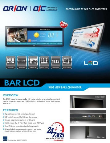Digital Signage Bar LCD Monitor - Orion Images Corporation