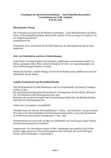 Grundlagen der Betriebswirtschaftslehre – Ziele/Zielgrößen ...