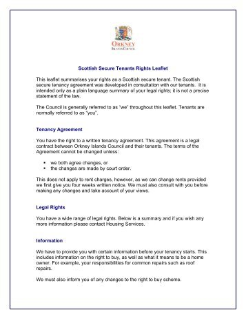 Scottish Secure Tenants Rights Leaflet - Orkney Islands Council