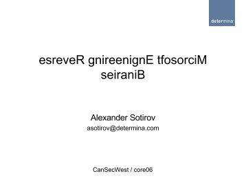 Reverse Engineering Microsoft Binaries - orkspace.net