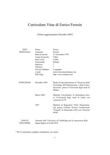 Curriculum Vitae di Enrico Feresin - orkspace.net