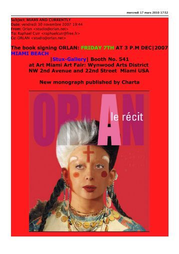 The book signing ORLAN: FRIDAY 7TH AT 3 P.M DEC