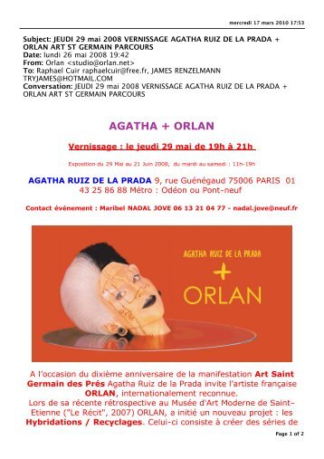 JEUDI 29 mai 2008 VERNISSAGE AGATHA RUIZ DE LA PRADA + ...