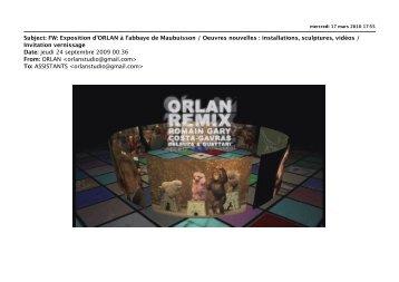 Exposition d'ORLAN à l'abbaye de Maubuisson / Oeuvres nouvelles
