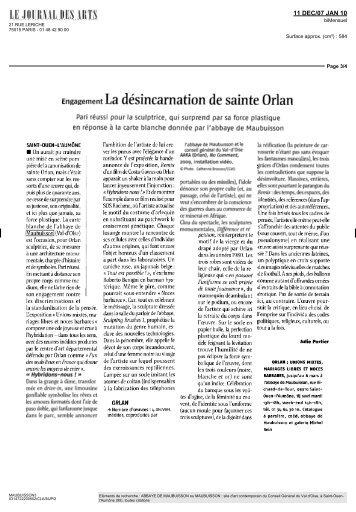 Engagement La désincamation de sainte Orlan