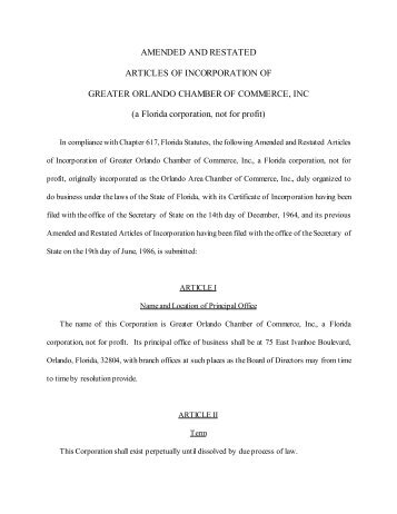 certificate of amendment of articles of incorporation of
