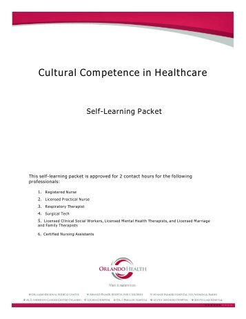 Cultural competence in healthcare - self-learning ... - Orlando Health