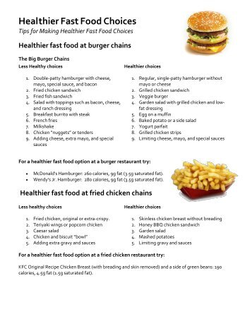 Smart Food Choices For Fast Food Restaurants