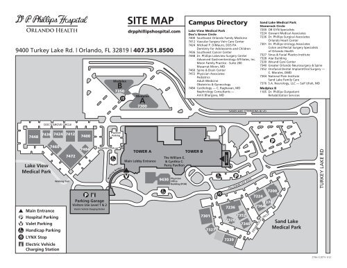 Map of the Dr  P  Phillips Hospital Campus - Orlando Health