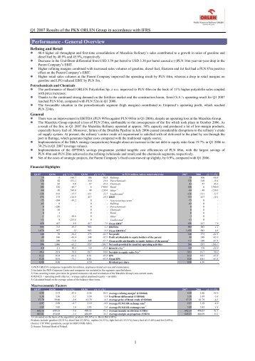 Komentarz segmenty (MSSF) PKN ORLEN SA