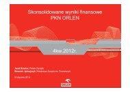 Skonsolidowane wyniki finansowe PKN ORLEN 4kw.2012r.