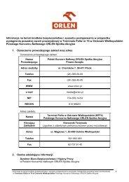 Informacje na temat środków bezpieczeństwa dla BP74 ... - PKN Orlen