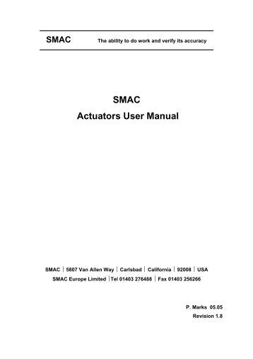SMAC actuators user manual (151kB PDF).