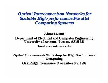 Optical Interconnection Networks for Scalable High-performance ...
