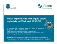 Initial experiments with liquid target materials in PSI-2 and TEXTOR