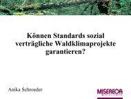 Präsentation Waldklimastandards und soziale Wirkungen - OroVerde