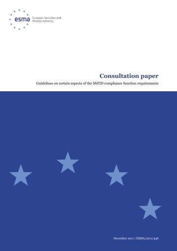 Consultation paper - Esma - Europa