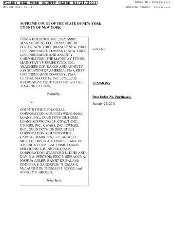 countrywide home loans inc FILED: NEW YORK COUNTY CLERK - PENDING - Countrywide ...