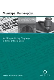Municipal Bankruptcy: - Orrick, Herrington & Sutcliffe LLP
