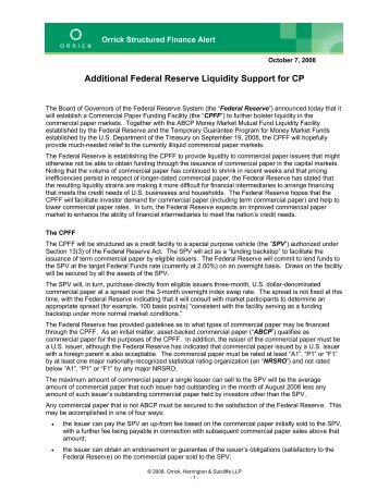 Additional Federal Reserve Liquidity Support for CP - Orrick ...