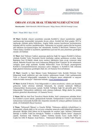 Türkmen Güncesi - Mart/Nisan 2012 - orsam
