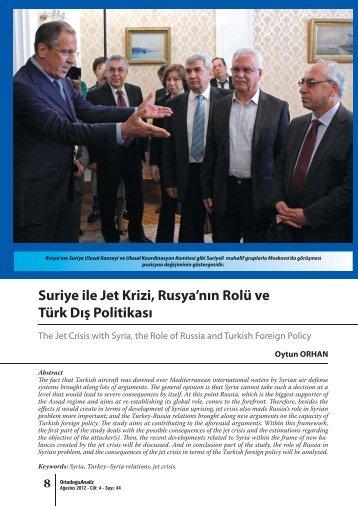 Suriye ile Jet Krizi, Rusya'nın Rolü ve Türk Dış Politikası - orsam