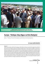 Suriye - Türkiye: Güç Algısı ve Kriz İletişimi - orsam