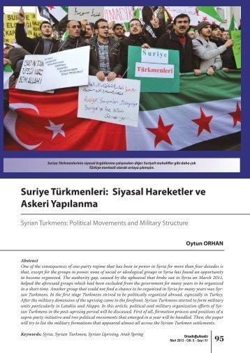 Suriye Türkmenleri: Siyasal Hareketler ve Askeri Yapılanma - orsam