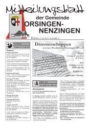 Mitteilungsblatt vom Freitag, 05. Juli 2013, Ausgabe 27 - Orsingen ...