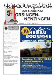FREITAG • 07. Juni 2013 • AUSGABE 23 - Orsingen - Nenzingen