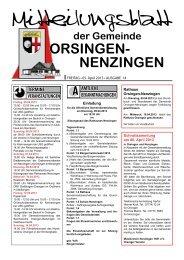 Mitteilungsblatt vom Freitag, 05. April 2013, Ausgabe 14 - Orsingen ...