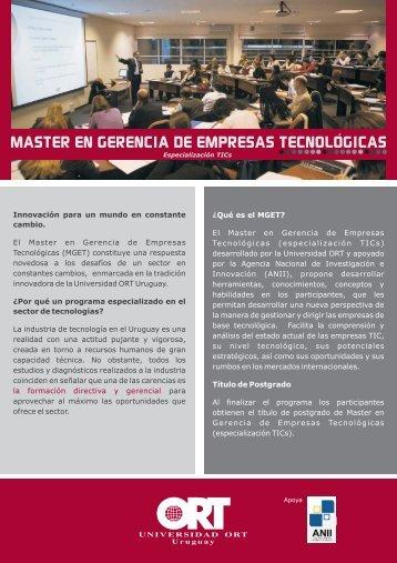 master en gerencia de empresas tecnologicas - Universidad ORT ...