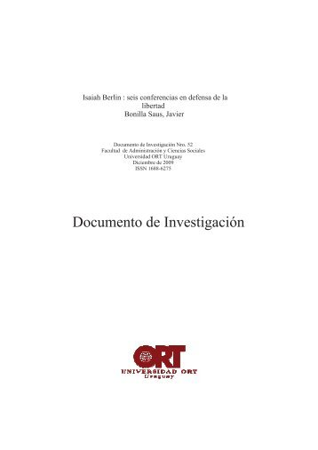 Isaiah Berlin : seis conferencias en defensa de la - Universidad ORT ...