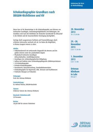 Echokardiographie-Grundkurs nach DEGUM ... - Ortenau Klinikum