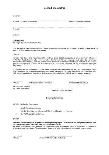 behandlungsvertrag ortenau klinikum - Behandlungsvertrag Muster
