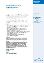 Workshop Innerklinisches Notfallmanagement - Ortenau Klinikum