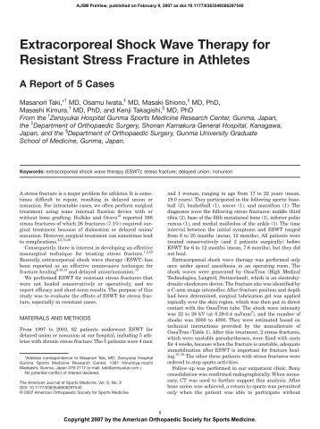 Extracorporeal Shock Wave Therapy for Resistant Stress Fracture in ...