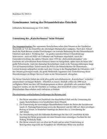 """Umnutzung des """"Kutscherhauses"""" beim Ortsamt - Ortsamt Osterholz ..."""
