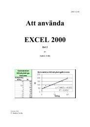 Att använda EXCEL 2000 Del 2