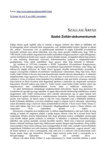 SZÁLLÁSI ÁRPÁD Szabó Zoltán-dokumentumok