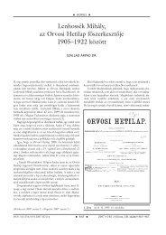 Lenhossék Mihály, az Orvosi Hetilap fôszerkesztôje 1905–1922 között
