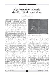 Egy Semmelweis-ünnepség záróakkordjának ... - Akademiai.com