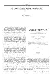 Az Orvosi Hetilap száz évvel ezelôtt - Akademiai.com