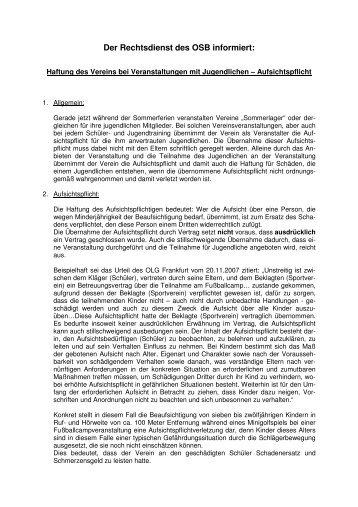Download Formular Zur übertragung Der Aufsichtspflicht An Eine