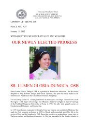 our newly elected prioress sr. lumen gloria dungca, osb