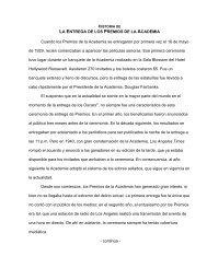LA ENTREGA DE LOS PREMIOS DE LA ACADEMIA Cuando los ...