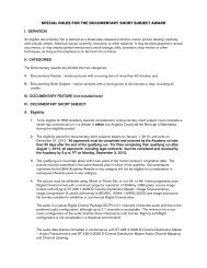 special rules for the documentary short subject award - Academy of ...