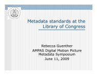 Metadata standards at the Library of Congress