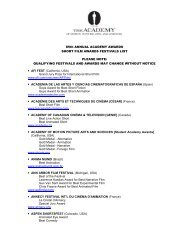 Academy Festival List. - Academy of Motion Picture Arts and Sciences