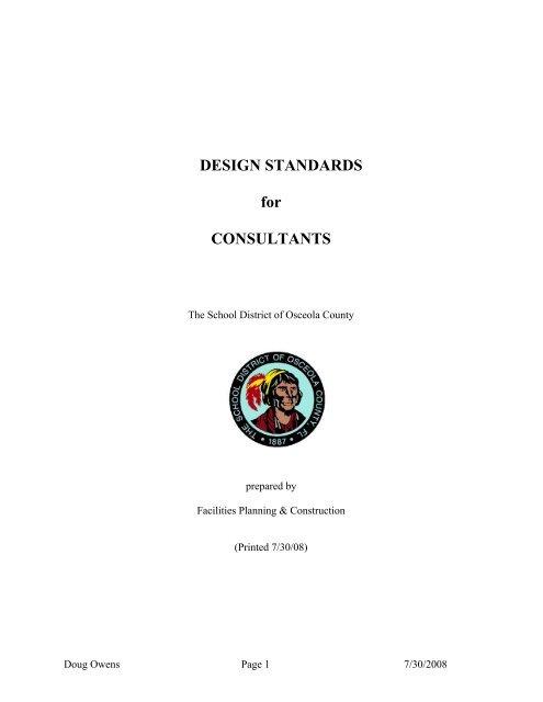 Design Standards Document For SDOC - Osceola County School